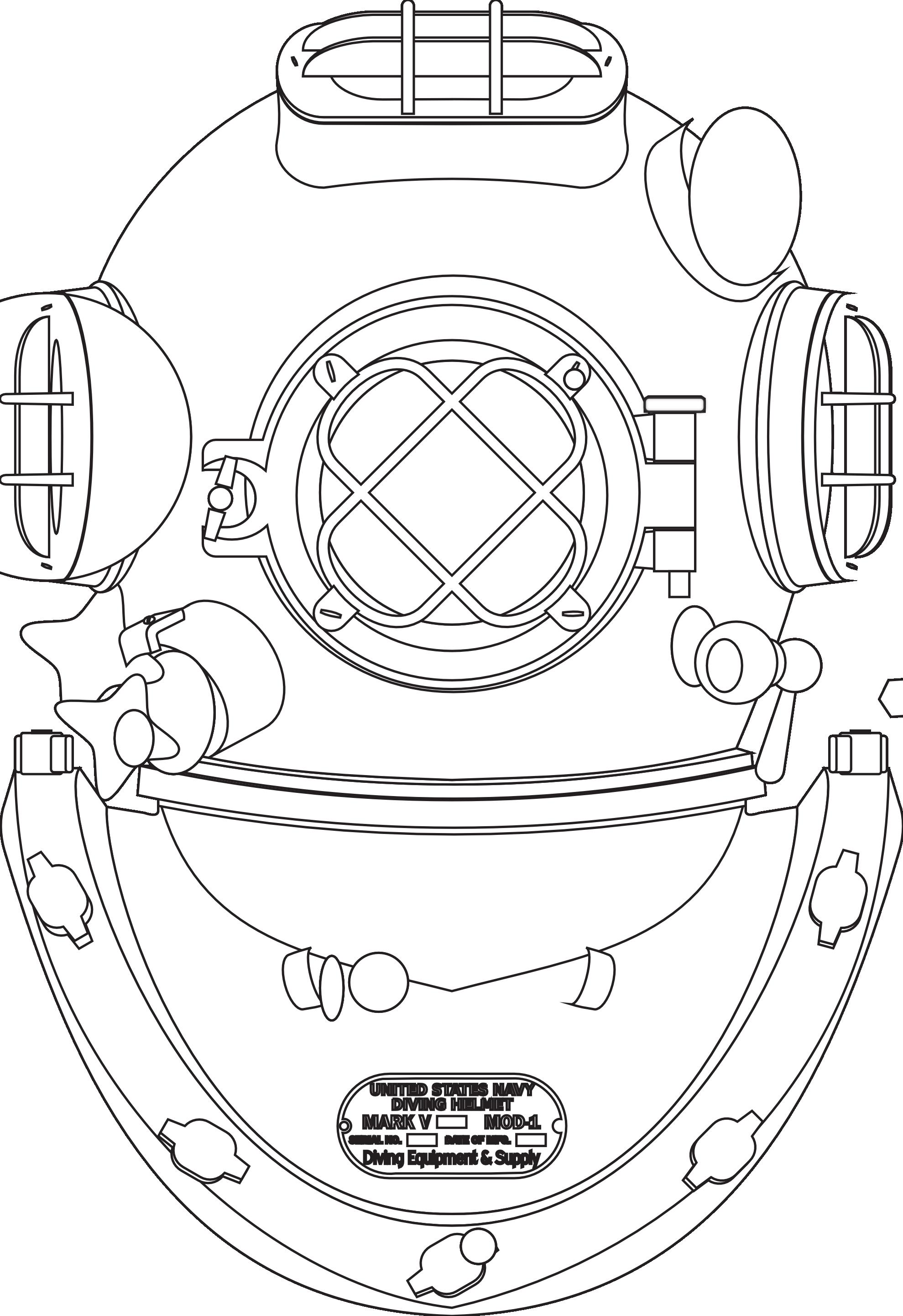 casco palombaro diving helmet hunky dory SVG colouringbook.org.