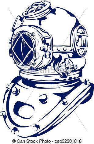 Vector Clip Art of Vintage Diving Helmet.