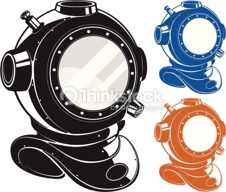 Antique Deepsea Diving Helmet Vector Art.