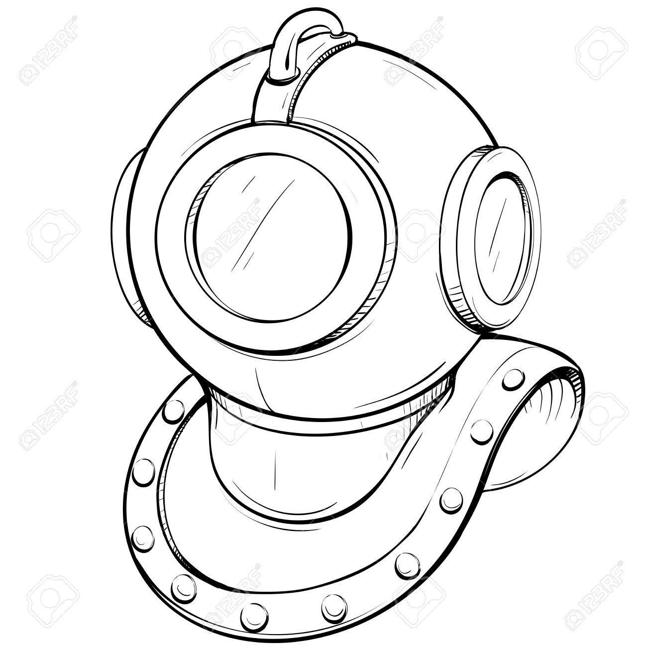 Vector Illustration Retro Diving Helmet Made In Thumbnail Style.