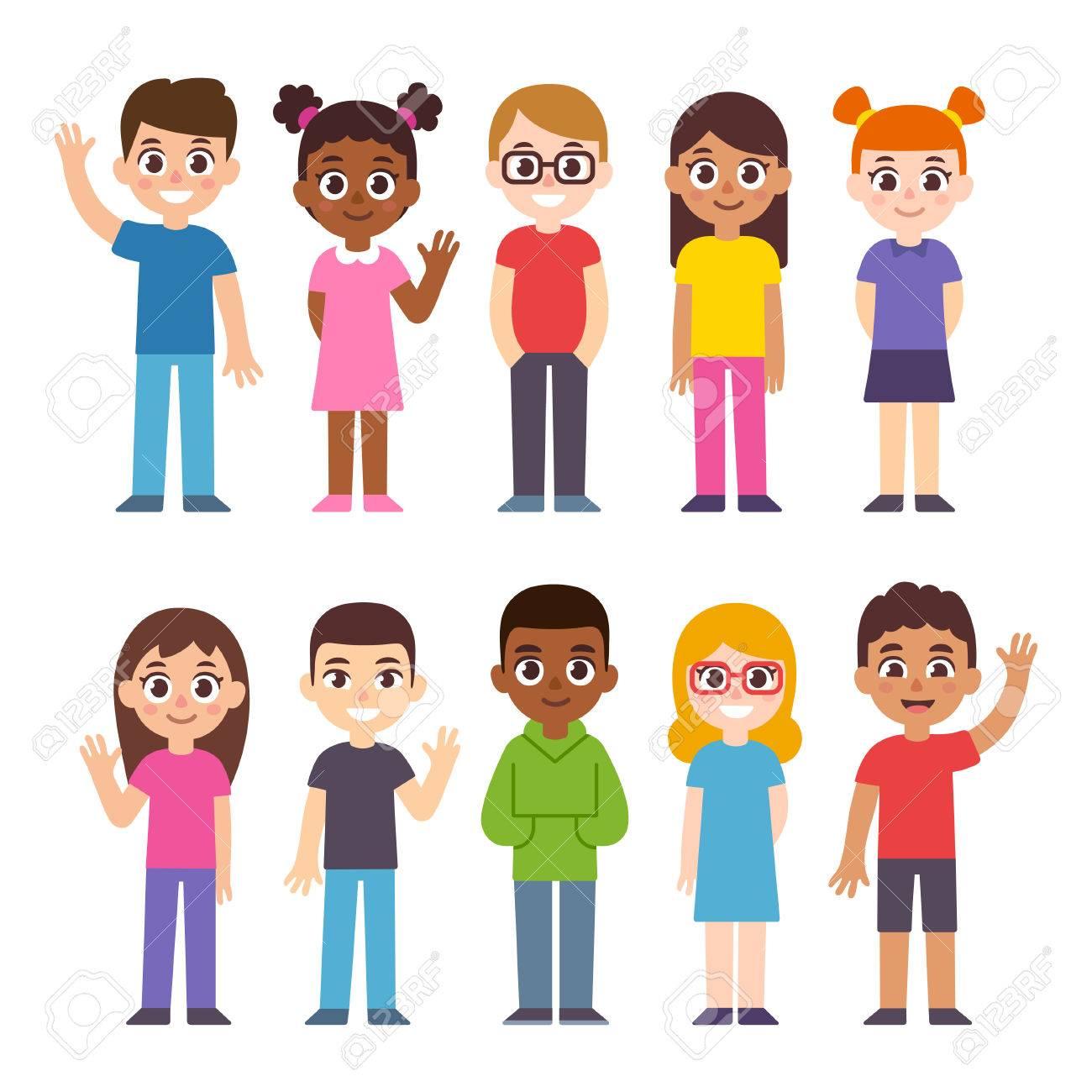 Set of cute diverse cartoon children. International group of...