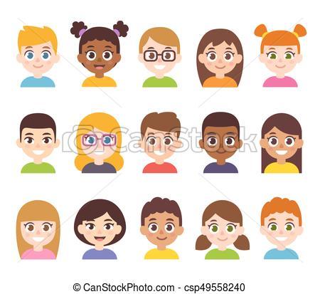 Cartoon children avatar set.