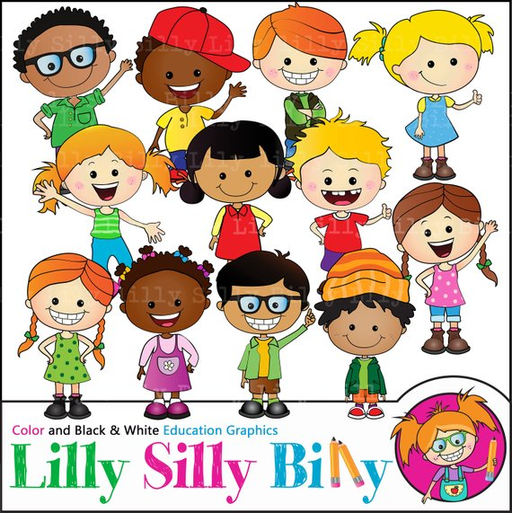 Happy Kids Clipart. BLACK and WHITE and COLOR. Education graphics of.