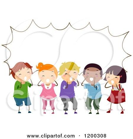 Cartoon of a Group of Shouting Diverse Children with a Speech.