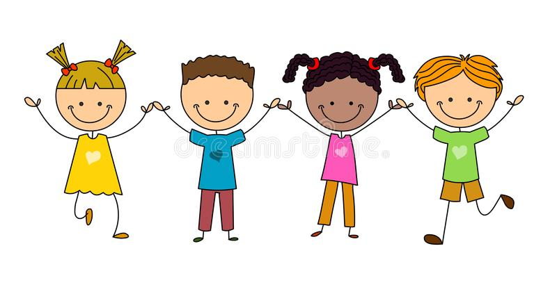 Diversity Kids Stock Illustrations.