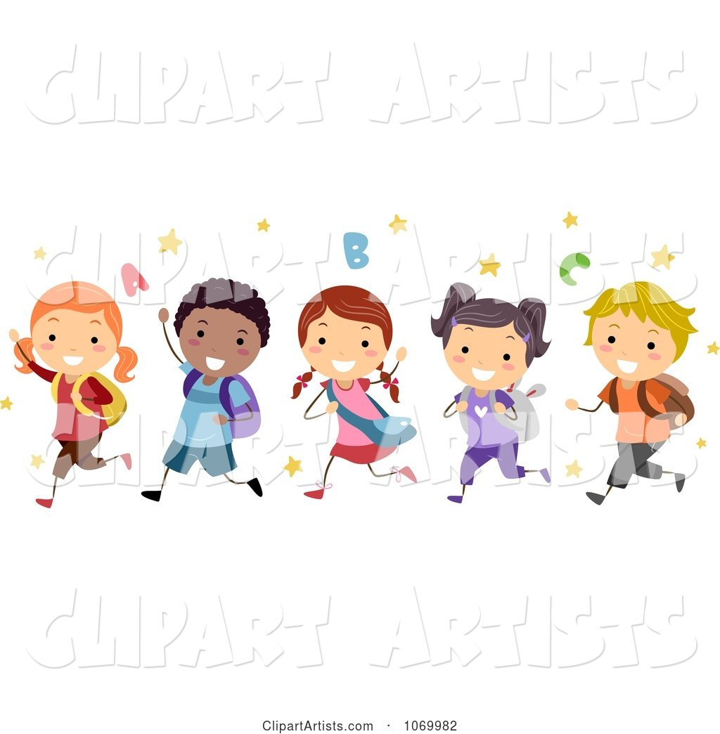 Diverse Stick Students Running Clipart by BNP Design Studio.