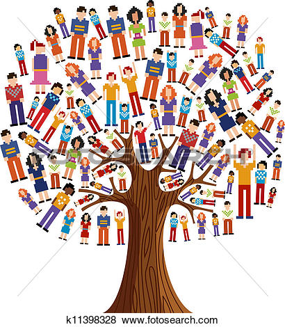 Clipart of Isolated Diversity Tree people k11398324.