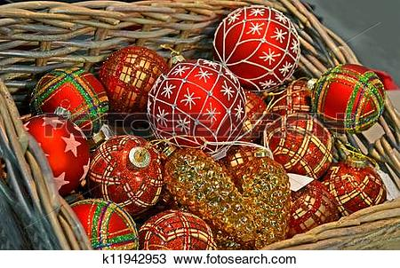 Stock Photo of christmas sphere heap in wooden container, holiday.