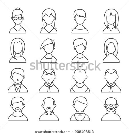 Set Thin Line People Icons Man Stock Vector 257125591.