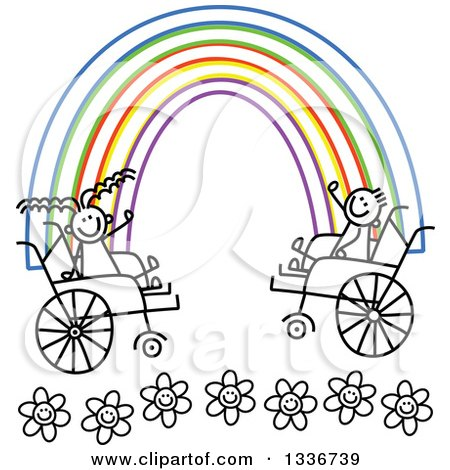 Clipart of a Doodled Disabled Boy and Girl Playing and Blowing.