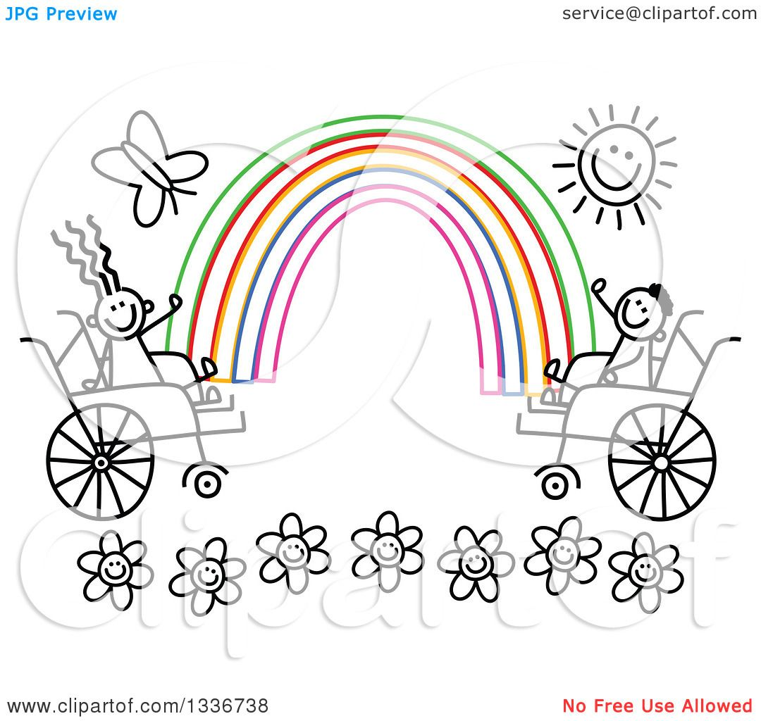 Clipart of a Doodled Black and White Disabled Boy and Girl in.