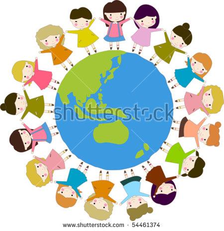 Kids Diversity Holding Hands Around World Stock Vector 54461374.