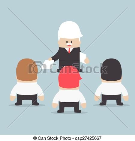 Clip Art Vector of Businessman divide up the work to his employee.
