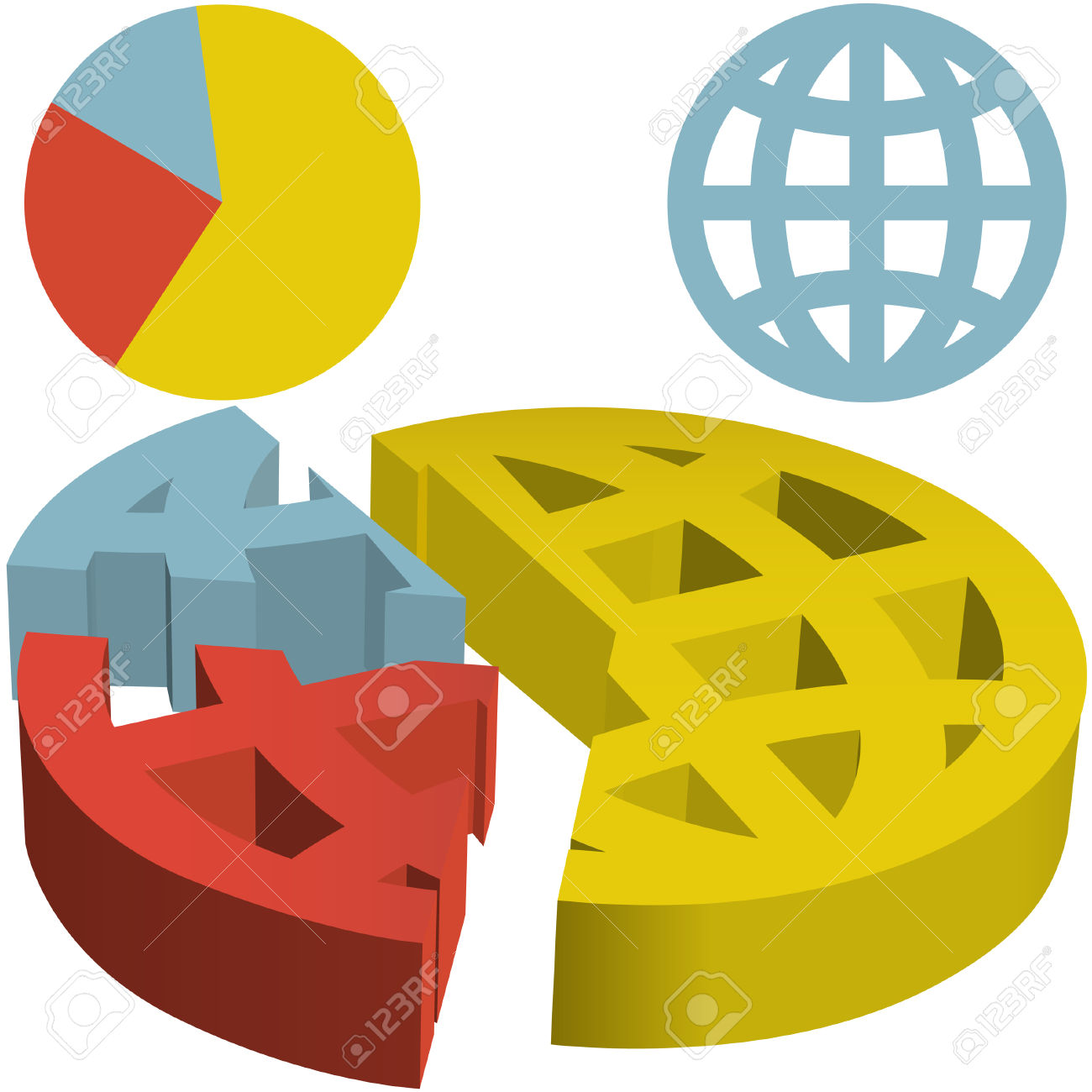 A Financial Pie Chart Of The Globe With The World Divided Into.