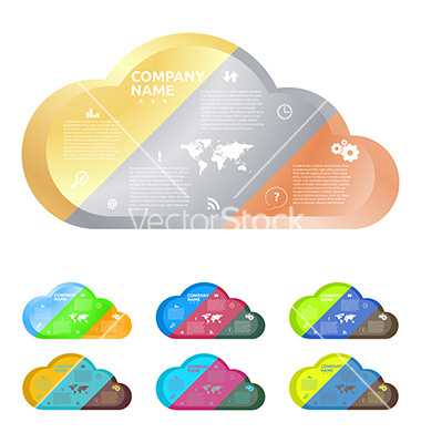 Cloud divided into three parts of gold silver and vector by.