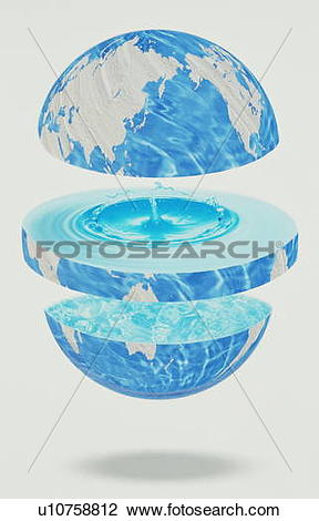 Stock Photo of Globe divided into three parts with water inside.