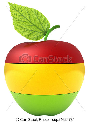 Drawings of Apple divided into three multi.
