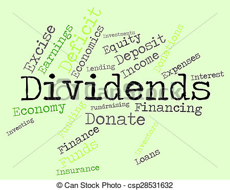 Drawings of Dividends Word Shows Stock Market And Revenues.