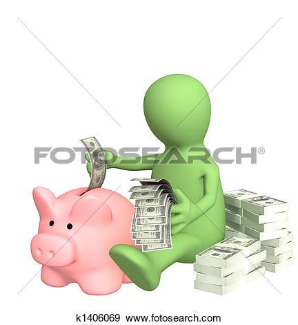 Stock Illustration of Piggy bank k1406069.