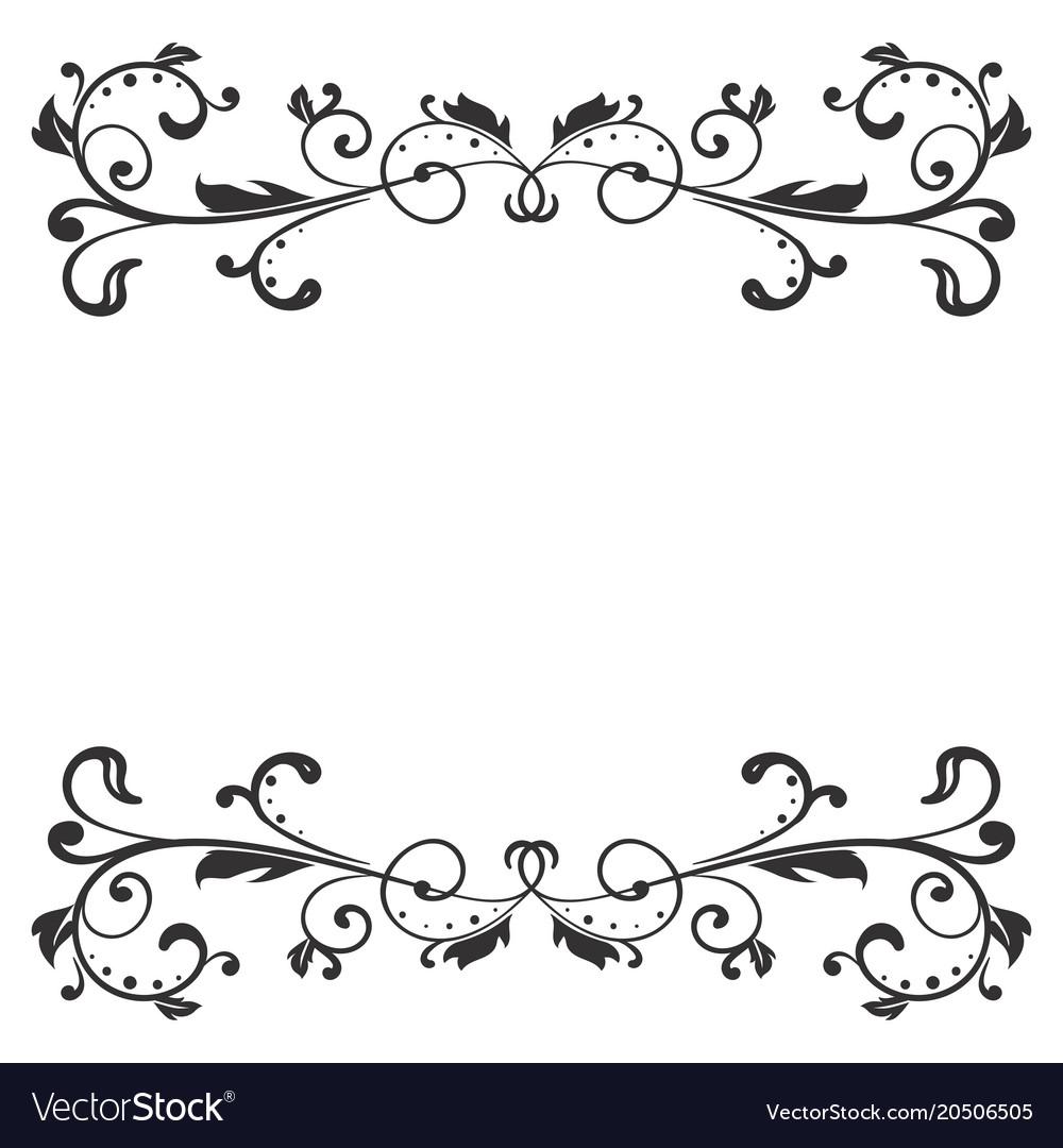 Floral decoration black ornamental divider.