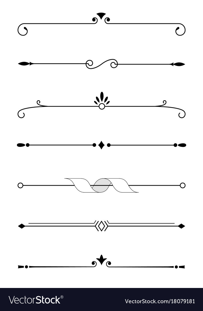 Decorative elements borders and text dividers.