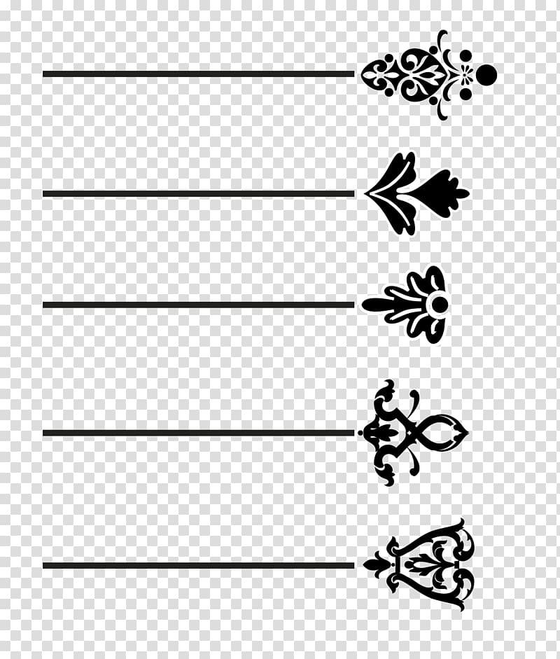 Black floral , Motif Pattern, Black dividing line transparent.