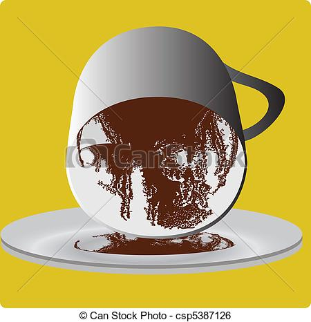 Clip Art Vector of Divination cup of coffee csp5387126.
