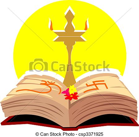 Stock Illustrations of divine lamp and religious book.