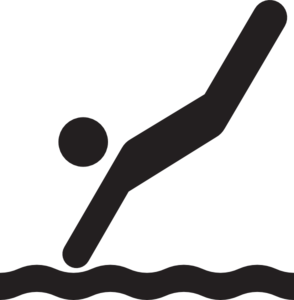 Diving clipart black and white.