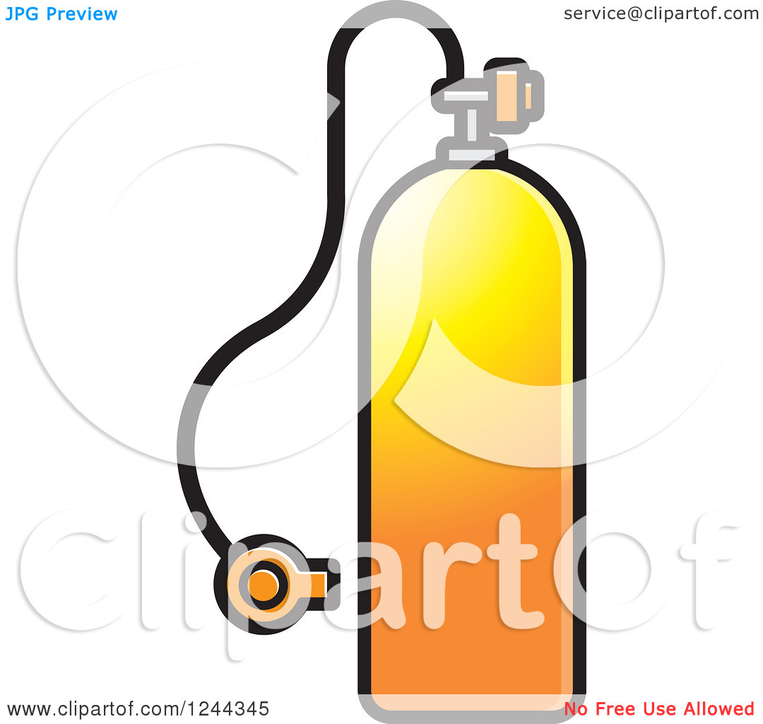 Clipart of a Gradient Orange Diving Cylinder.