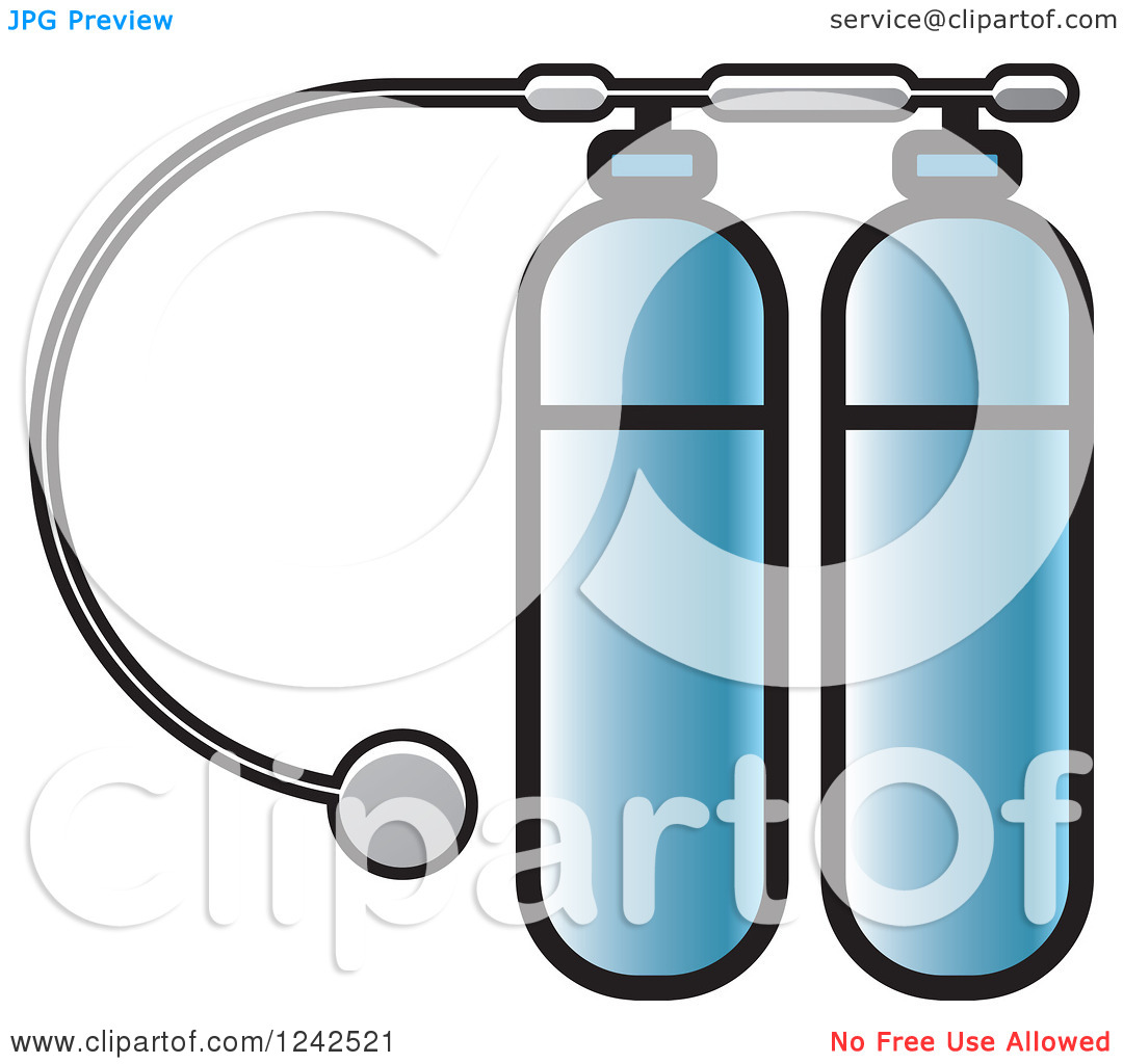 Clipart of Blue Diving Kit Oxygen Tanks.