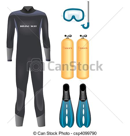 Vector Clipart of Diving equipment.