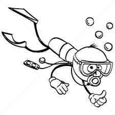 Scuba Diver Clipart Black And White.