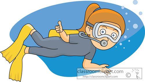 Girls Scuba Diving Cartoon Clipart.
