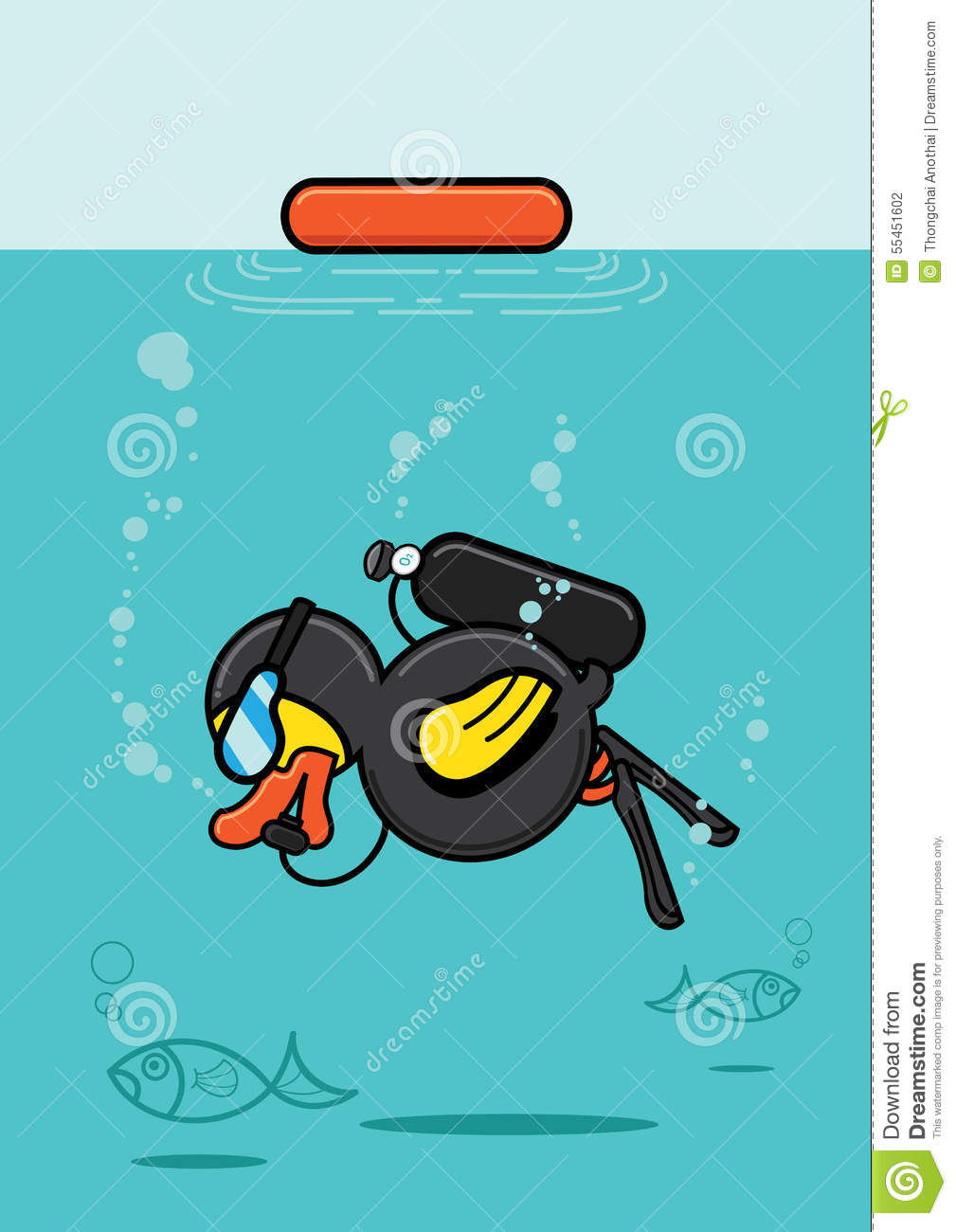 Duck Scuba Diving Underwater Stock Vector.