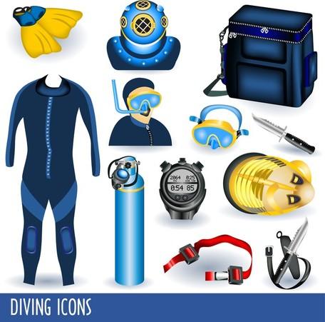 Diving Equipment 01, Cliparts.