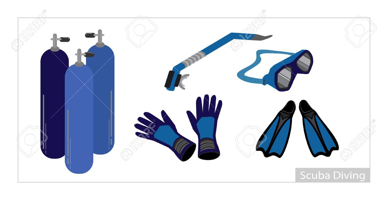 Illustration Collection Of Underwater Diving Equipment Or Scuba.