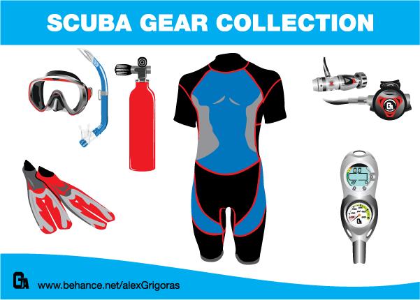 Scuba Diving Equipment Clip Art.