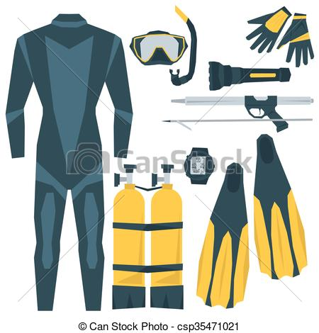 Vector Illustration of Vector icons set of diving equipment.
