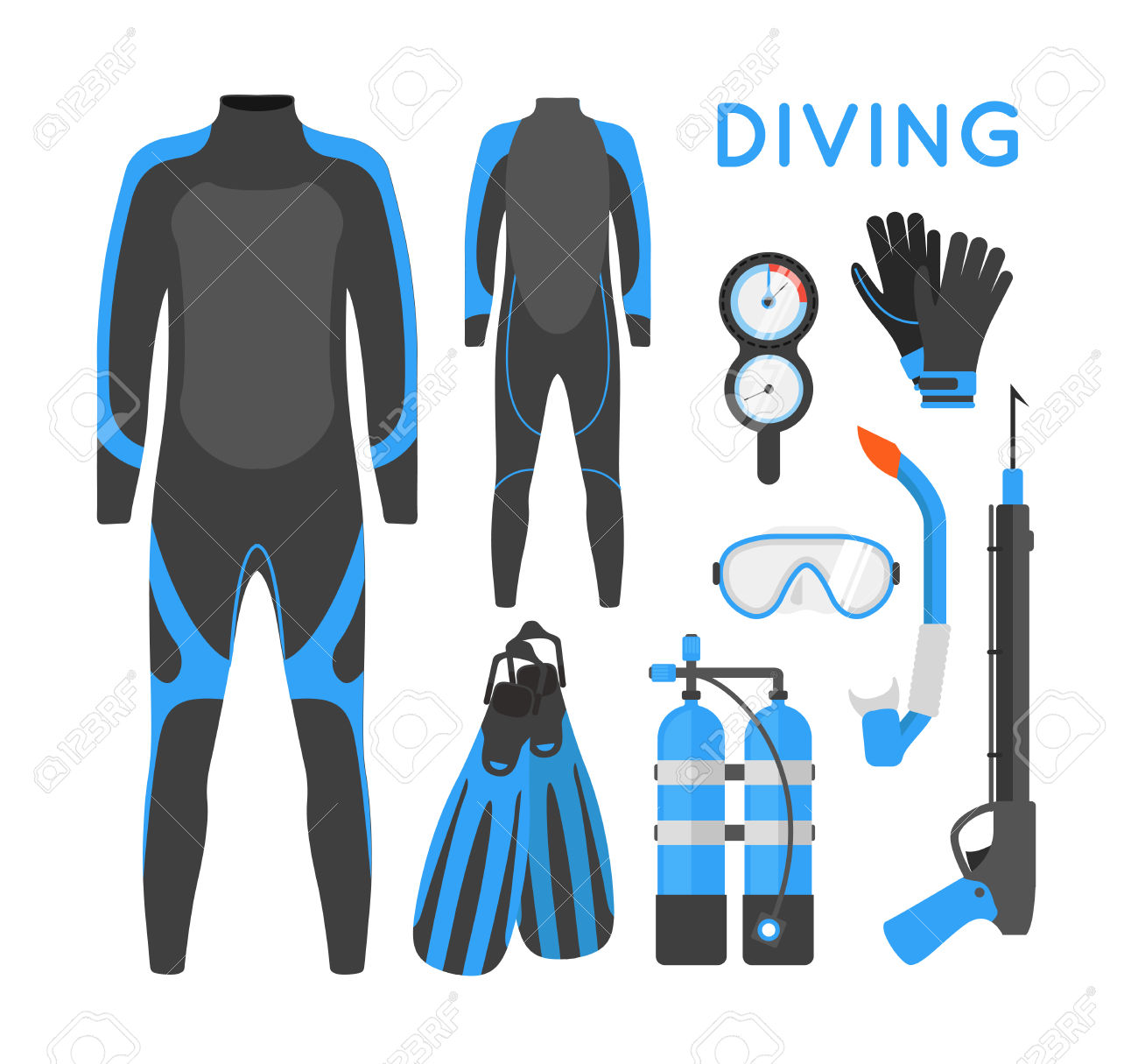 Diving Equipment. Diving Mask. Diving Snorkel. Diving Oxygen.