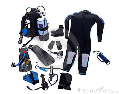 Diving Equipment Isolated Royalty Free Stock Images.