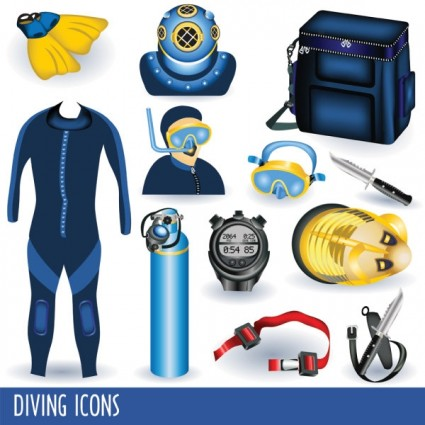 Scuba Diving Equipment Clip Art.