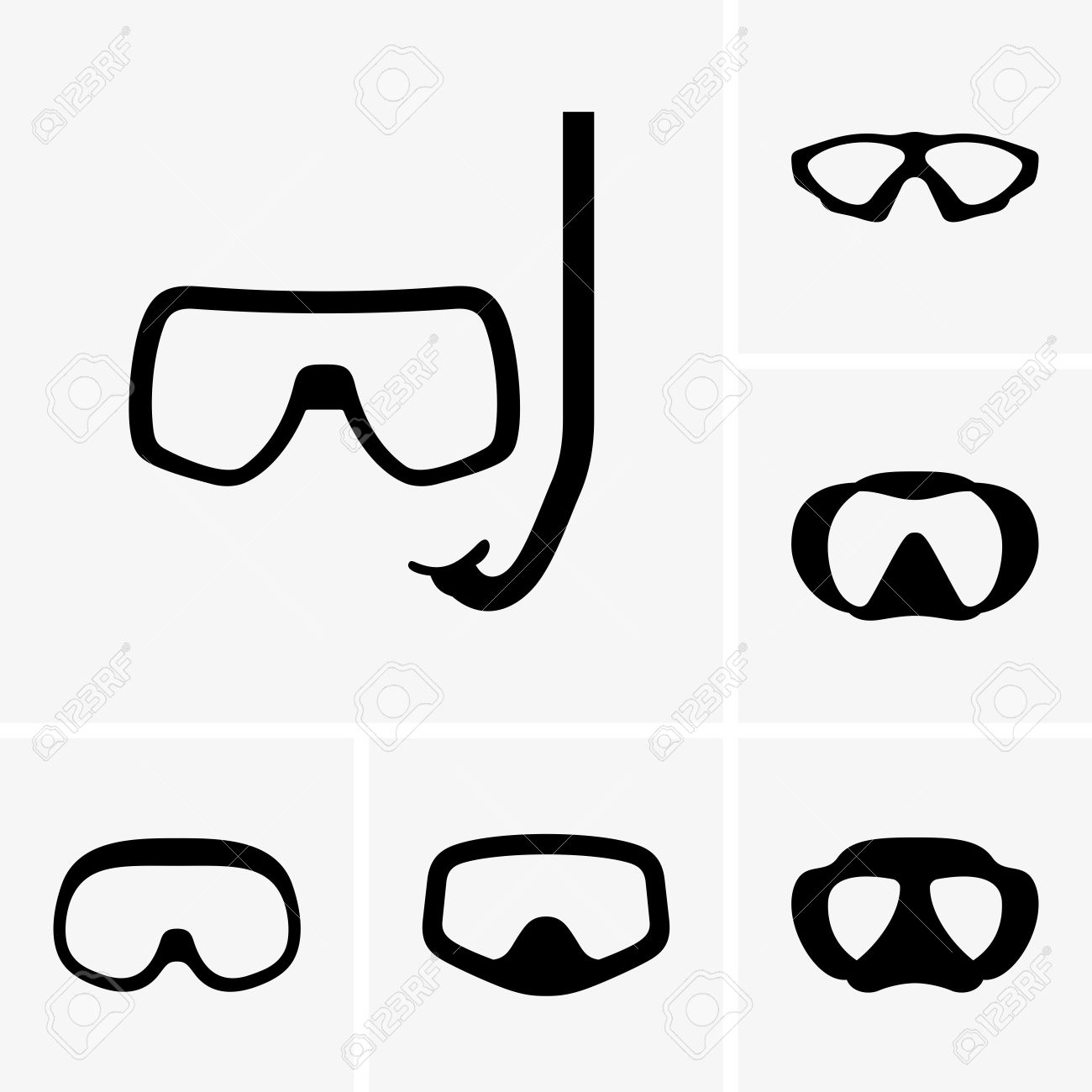 Scuba Diving Goggles Clip Art.