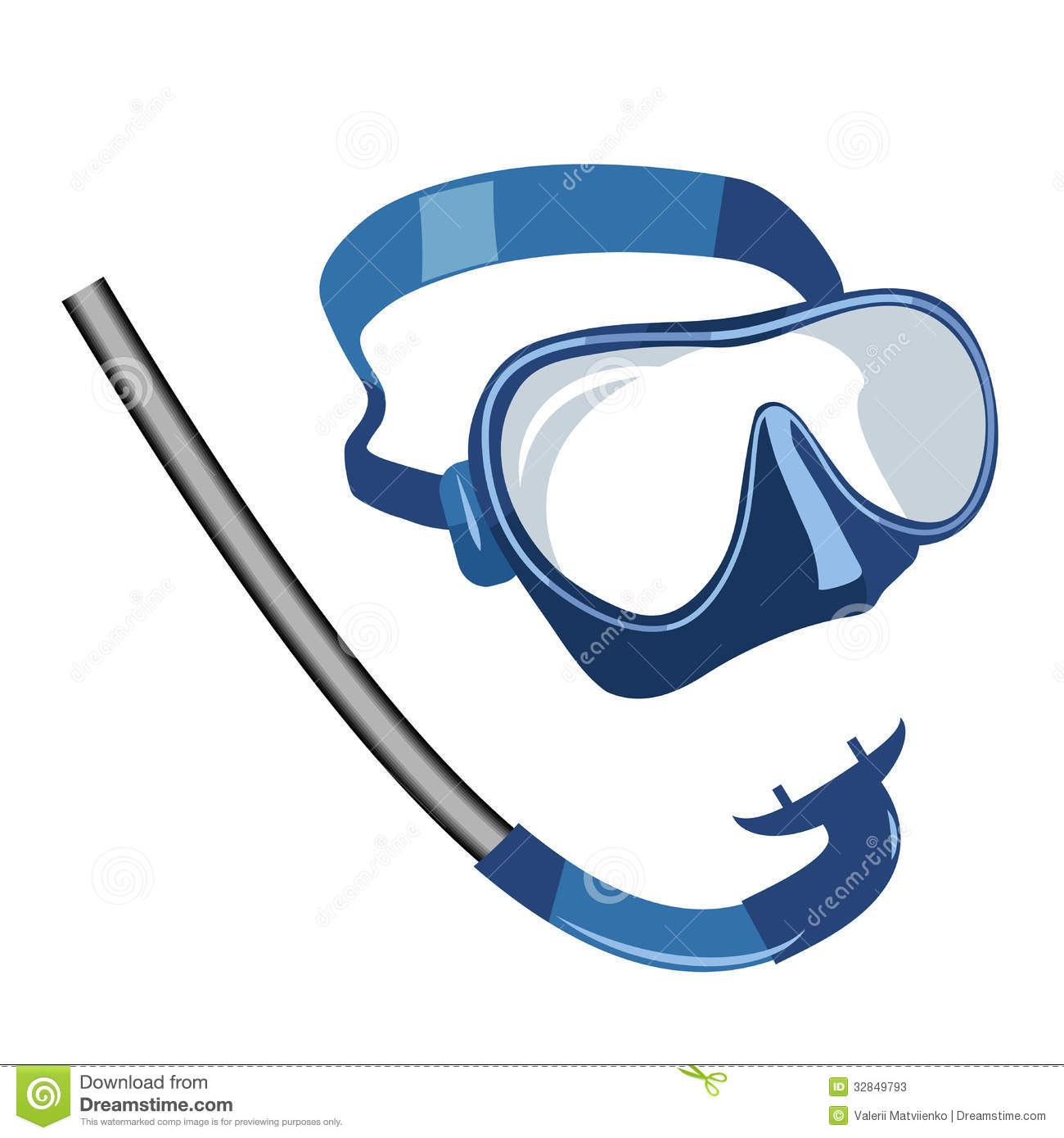 Diving and Snorkel Mask Clip Art.