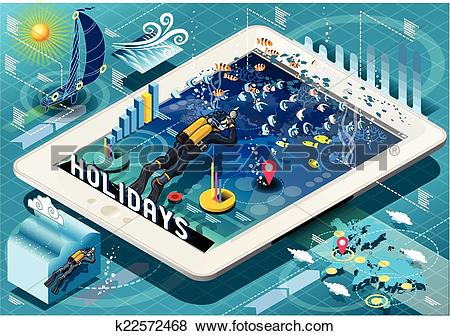 Clip Art of Isometric Diving Holidays Infographic on Tablet.
