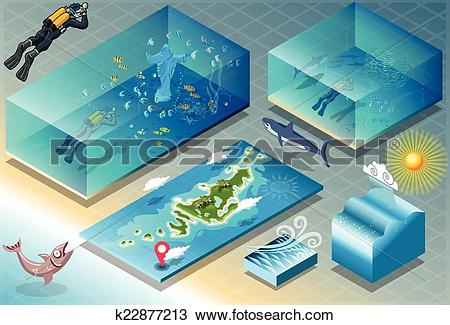 Clipart of Isometric Tile of Carribean Diving Holidays k22877213.