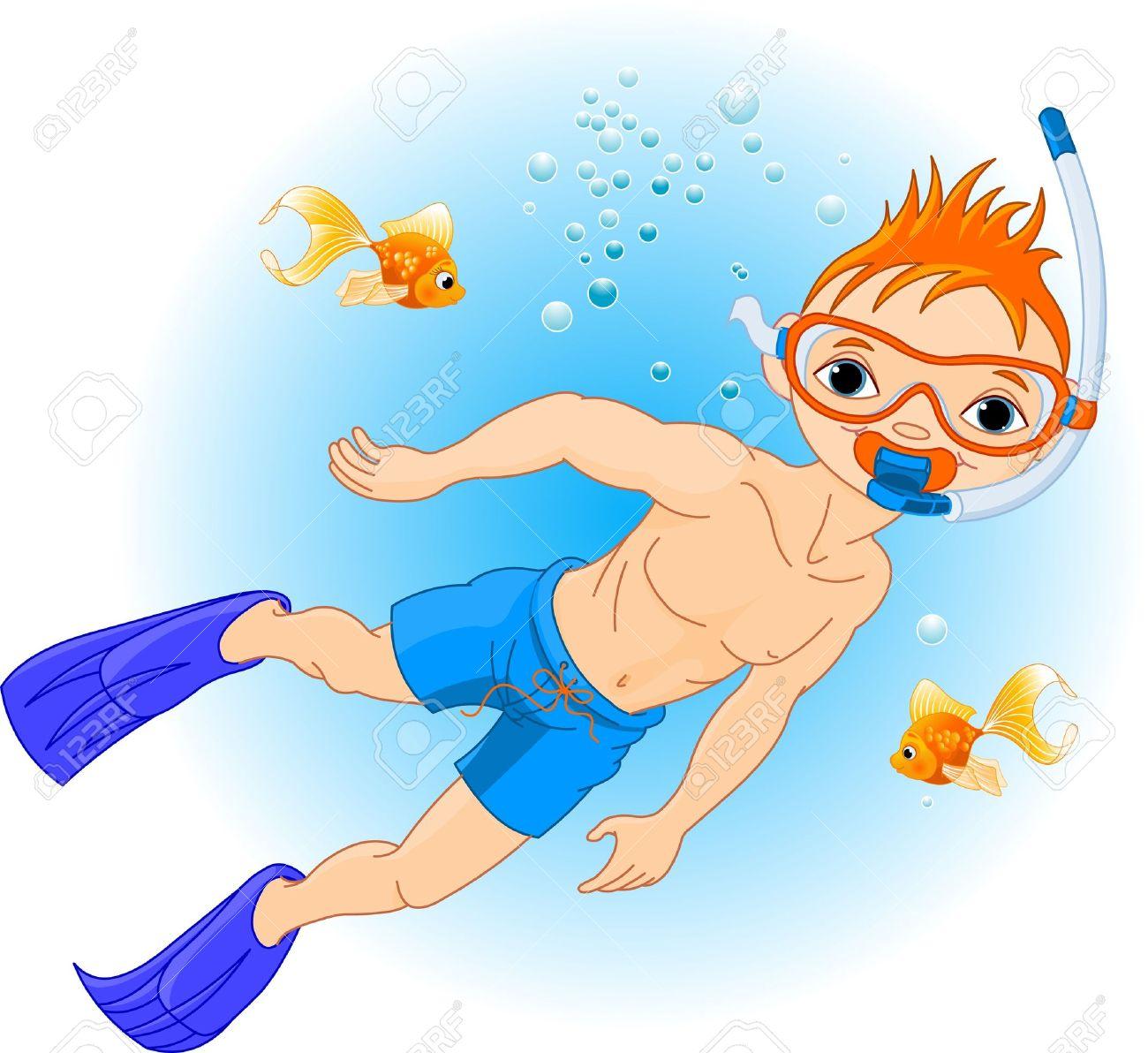 Boy scuba diving clipart.