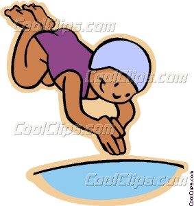 Diving Into A Pool Clipart.