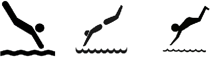 The three clipart images of a figure diving into water that.