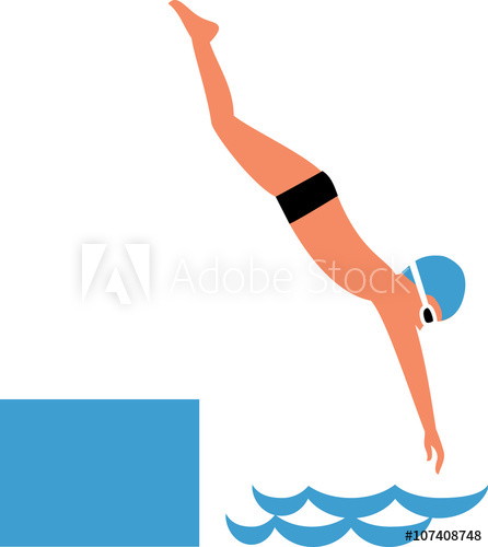Boy diving into water. Flat design. Vector illustration.